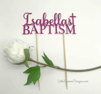 Name with Cross Baptism Cake Topper