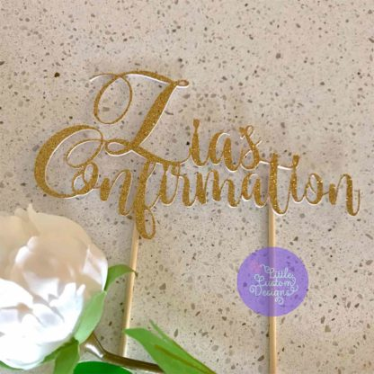 Confirmation Cake Topper with Swirly Font