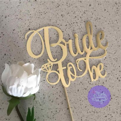 Bride to be with diamond cake topper
