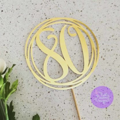 Circle with number cake topper