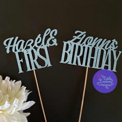 Twins first cake toppers