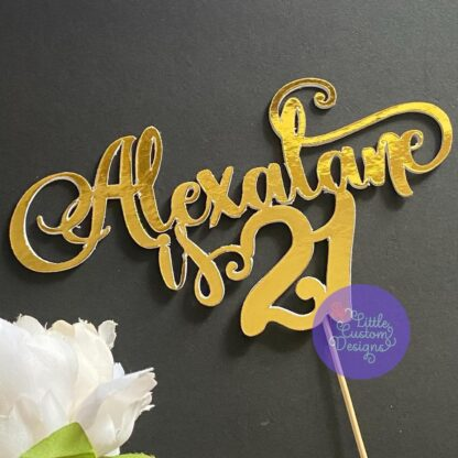 Name and Number Curvy Script Cake Topper