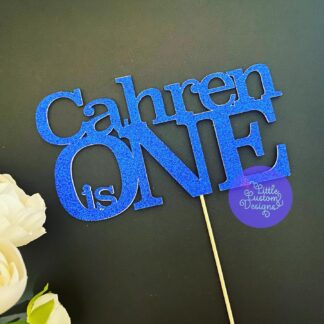 Bold Serif Name and is Number Cake Topper